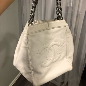 Vintage White Chanel small tote